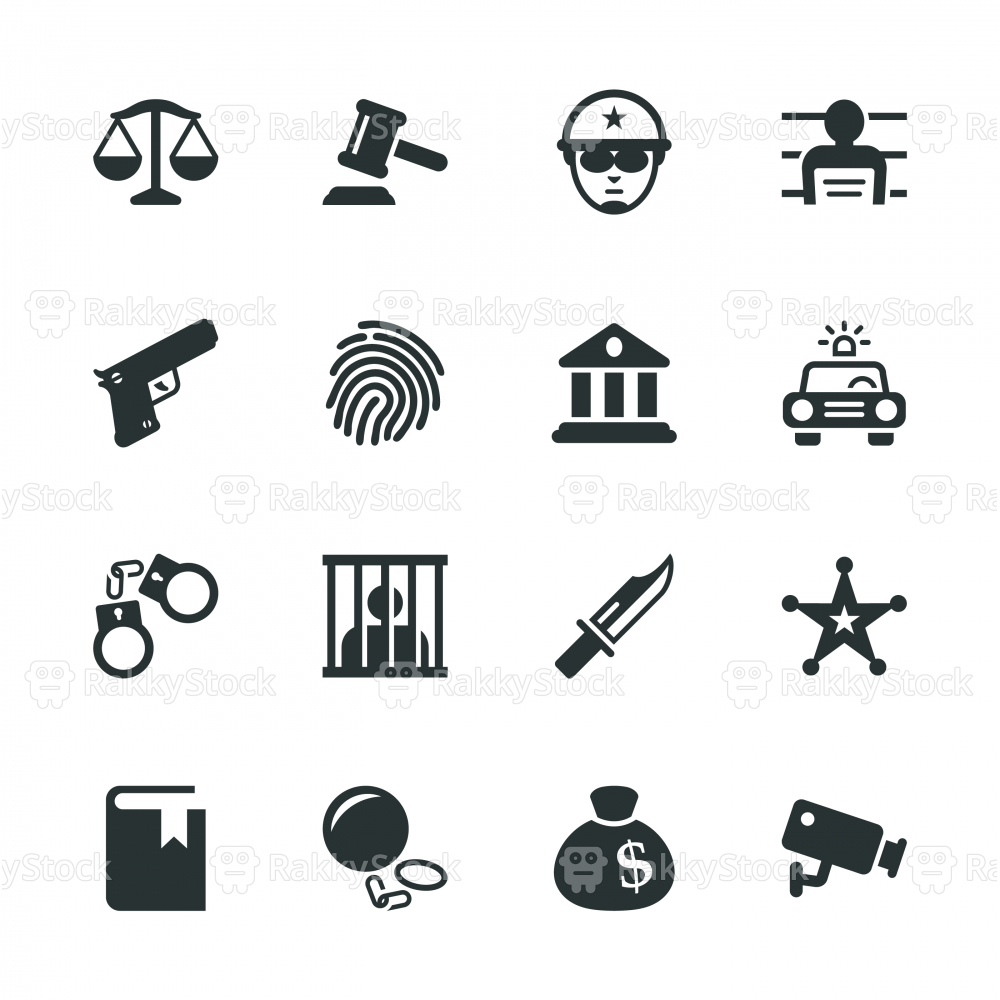 Justice and Law Silhouette Icons