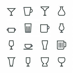 Glass and Cup Silhouette Icons