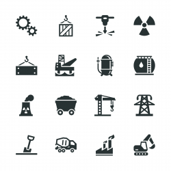 Heavy Industry Silhouette Icons