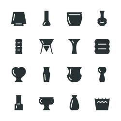 Pot and Vase Silhouette Icons | Set 2