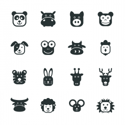 Animal Faces Silhouette Icons