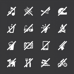 Prohibitions Icons Set 1 - White Series