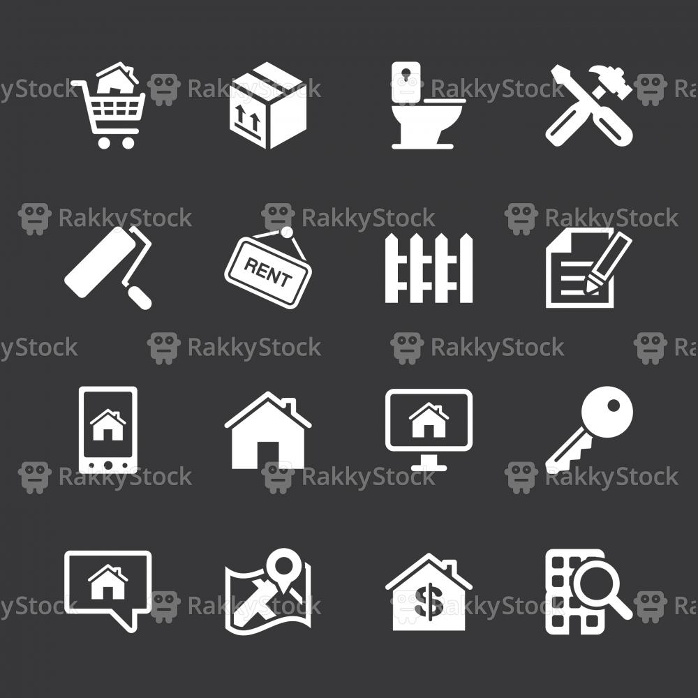 Real Estate Icons Set 2 - White Series