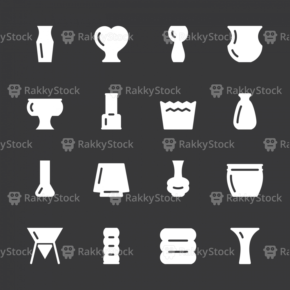 Pot and Vase Icons Set 2 - White Series