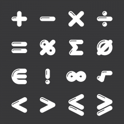 Mathematics Icons - White Series