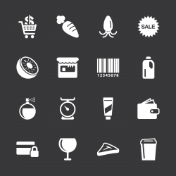 Supermarket Icons Set 2 - White Series