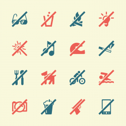 Prohibitions Icons Set 1 - Color Series