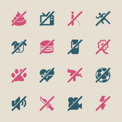 Prohibitions Icons Set 2 - Color Series