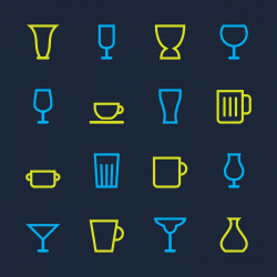 Glass and Cup Icons - Color Series