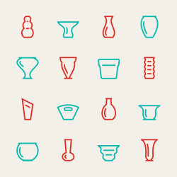 Vase and Pot Icons Set 1 - Color Series