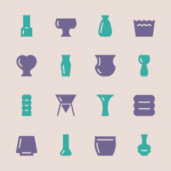 Pot and Vase Icons Set 2 - Color Series