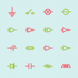 Electronic Circuit Icons - Color Series